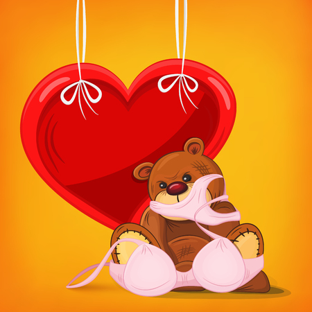 Sad teddy bear gift with pink underwear and heart frame. illustration