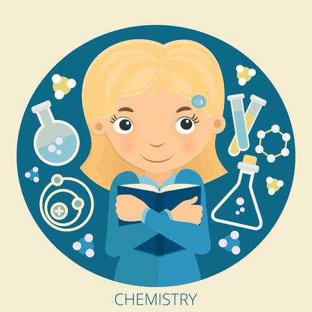 young schoolgirl: Illustration of young schoolgirl chemistry.