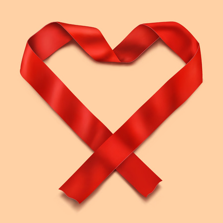 14 feb: Red satin realistic ribbon heart. vector illustration