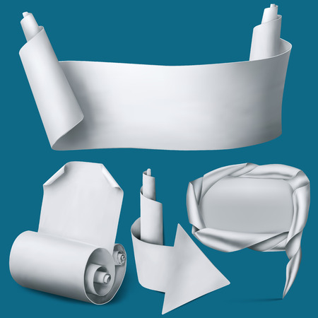 tape marker: Set of white paper realistic elements. Banner, arrow, pointer and curved blank. Vector Illustration