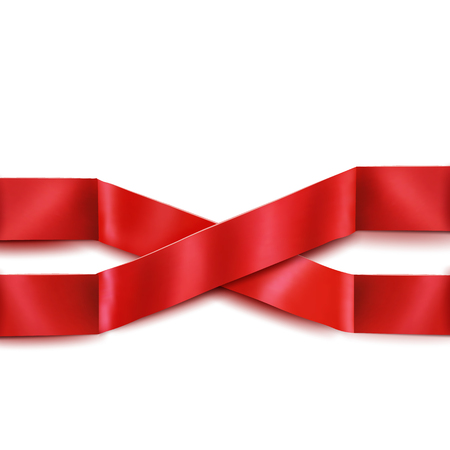 scrip: Two red satin intersecting ribbons isolated over white background. Vector illustration Illustration