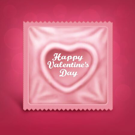 safer: St Valentines day card with heart shaped condom