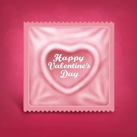 Tarjeta del día de San Valentín con el preservativo en forma de corazón Ilustración de vector