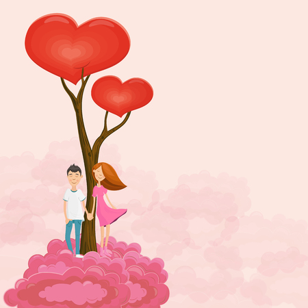 love tree: Young dreaming couple near love tree on rose cloud. illustration for Valentines day.