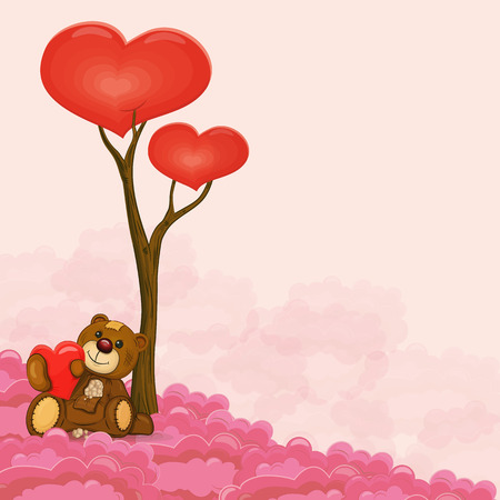 stuffed: Cute teddy bear with heart in his hand near love tree sitting on cloud. Vector illustration