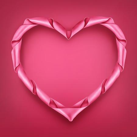 moño rosa: corazón rosado de la cinta en forma de la plantilla del marco. Valentín tarjeta de vectores.