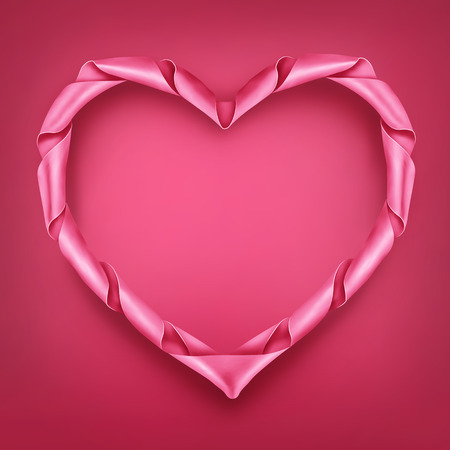 pink satin: Pink ribbon heart shaped frame template. Valentines day vector card.