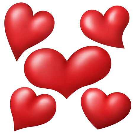 voluminous: Set of red hearts isolated over white background. Vector illustration