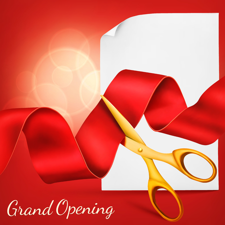 golden ribbon: Grand opening card with scissors,red ribbon, paper scroll template.  Vector illustration Illustration