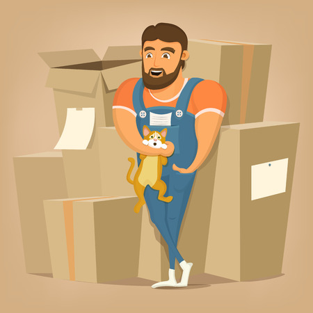 package deliverer: Moving and delivery company illustration.Mover man holding cat.