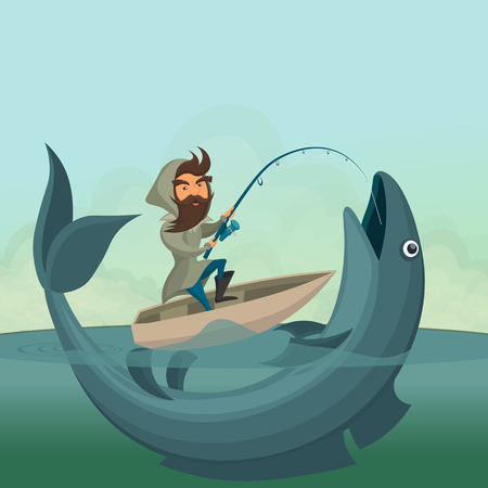 whisker characters: Fisherman on boat catch giant fish. Illustration