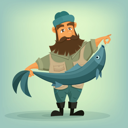 Bearded fisherman with big fish in his hands. Çizim