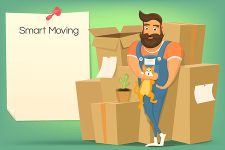 mover: Brutal handsome bearded mover man with cat. Smart moving concept Illustration
