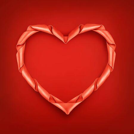 ribbon heart: Red ribbon heart shaped frame template