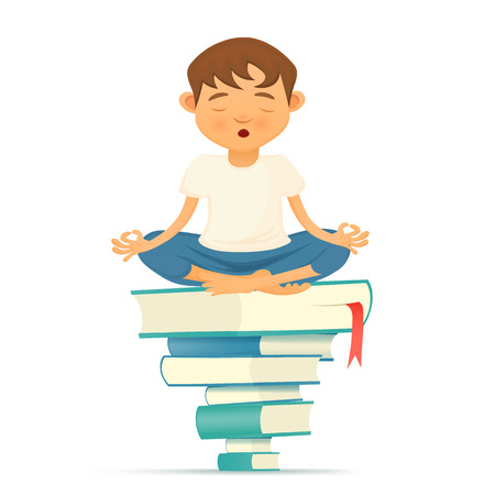 bookish: Illustration with yong yoga meditation boy siting on books. illustration