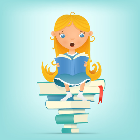 Illustration with young blonde girl sitting on pile of books while reading. illustration