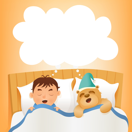 early morning: Boy sleep in bed with teddy bear. Early morning. illustration