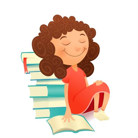 dreaming girl: Dreaming girl in red dress sitting with textbook. Vector illustration Illustration