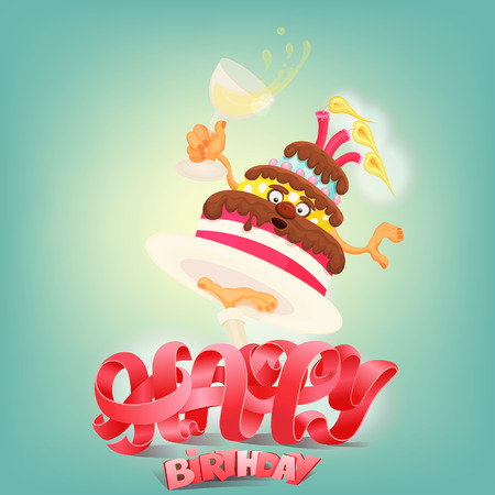 craze: Happy Birthday concept card with cake character. Vector illustration Illustration