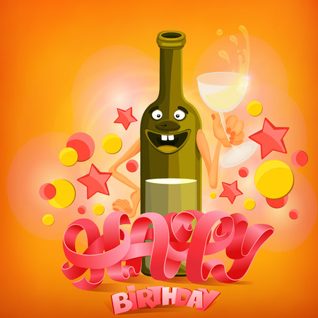 Happy Birthday Concept Card With Wine Bottle Character Vector