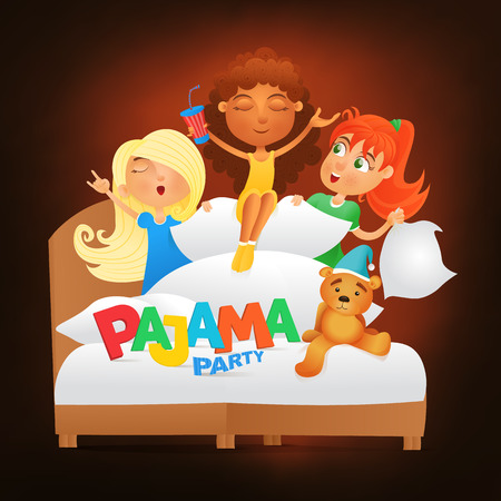 slumber party: Illustration of three girls having pajama slumber party. Vector illustration