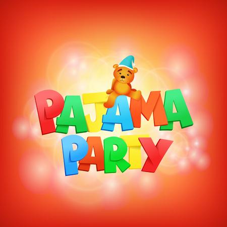 pijamada: letras fiesta de pijamas. Plantilla de tarjeta de invitación. ilustración vectorial Vectores