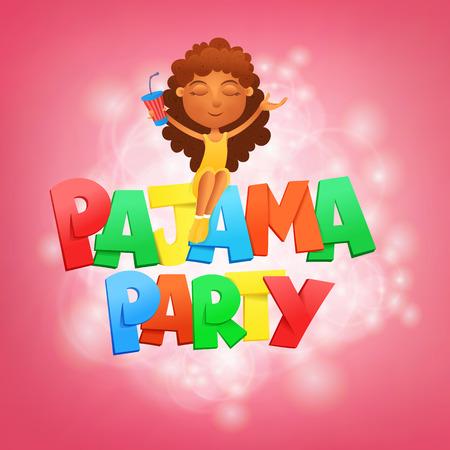 socializando: letras fiesta de pijamas. plantilla de tarjeta de invitación con la niña sentada. ilustración vectorial