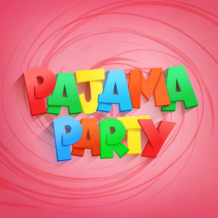 pijamada: pijama título letras partido en el fondo de color rosa. ilustración vectorial
