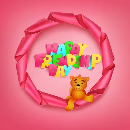 teddy bear vector: Happy friendhip day title in round ribbon pink frame with teddy bear. Vector illustration Illustration