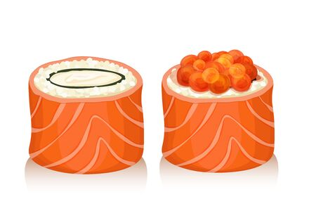 nori: sushi set icons isolated over white background vector illustration