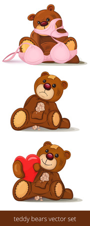 ironic: Set of funny teddy bears isolated on white. Vector illustration