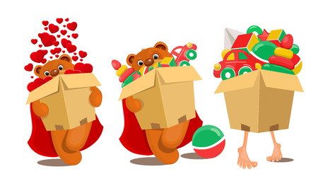 brown box: Set of toys in brown box. Vector illustration