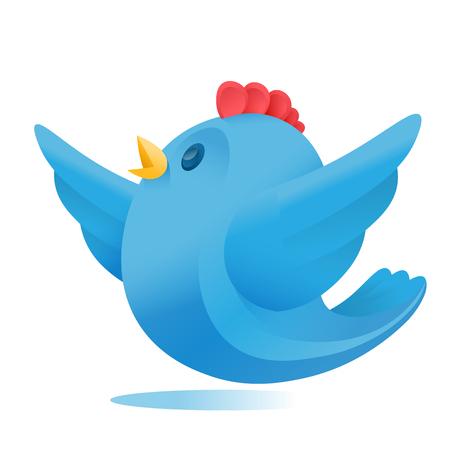simple logo: Simple blue bird logo element isolated over white background
