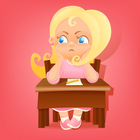school table: Illustration of a young girl in pink dress sitting at school table. Vector illustration