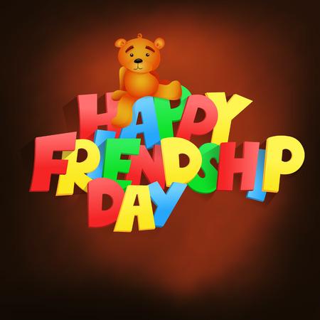 teddy bear vector: Friendship day lettering title with teddy bear. Vector illustration
