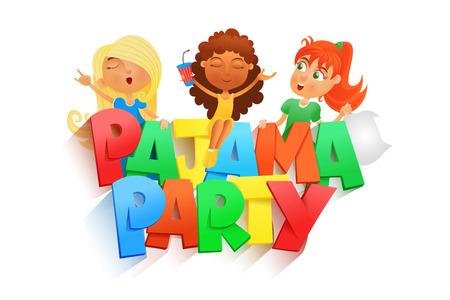 pijamada: ilustración de tres niñas que tienen fiesta de pijamas. Modelo de la tarjeta invintation. ilustración vectorial