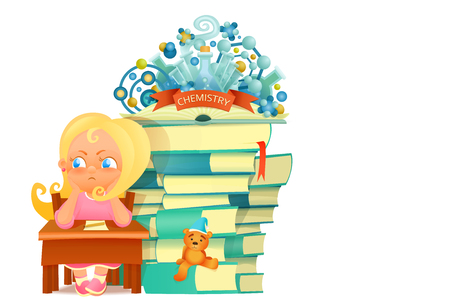 school table: Upset girl in pink dress sitting at school table. Chemistry knowledge concept card. Vector illustration