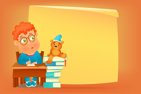 siting: Pupil in glasses siting at school table with teddy bear. Vector illustration