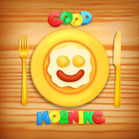 fried egg iconfried egg with sausage on golden plate. Good morning concept card. Vector illustration Illustration