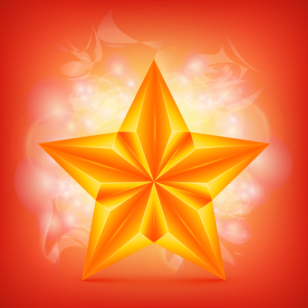 christmas military: Golden Star over abstract shiny background. Vector illustration