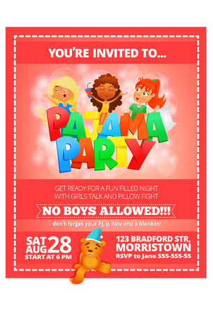 sleepover: Pajama party invitation pink poster. Vector illustration