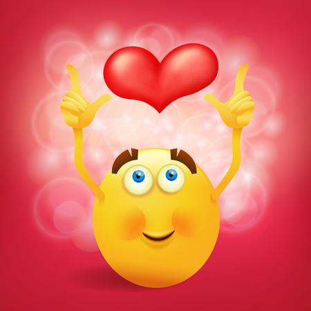 Giallo smiley faccia rotonda con cuore rosa. illustrazione di vettore