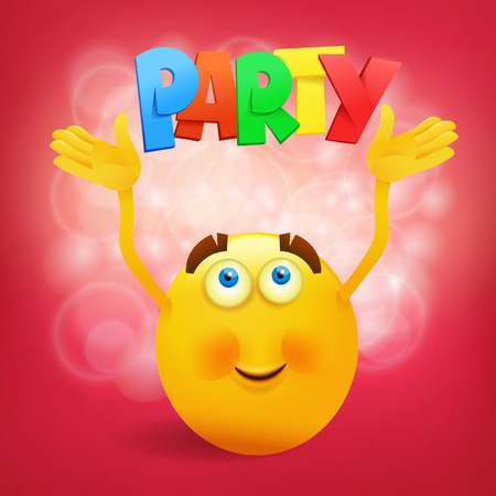friendliness: Yellow round smiley face with party title. Vector illustration