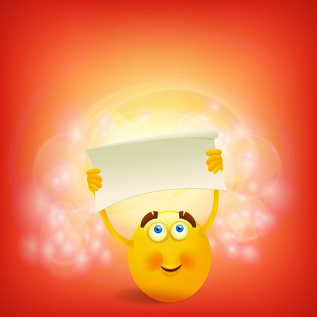 Yellow round smiley face with paper banner template. Vector illustration