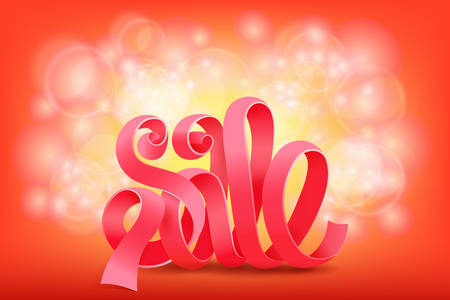 sales representative: Pink ribbon sale title on shiny background. Vector illustration