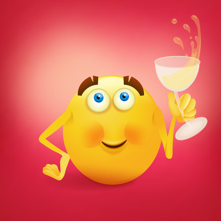 friendliness: Funny yellow smiling face with glass of wine. Vector illustration Illustration