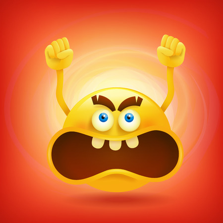Yellow round angry smiley face. Vector illustration