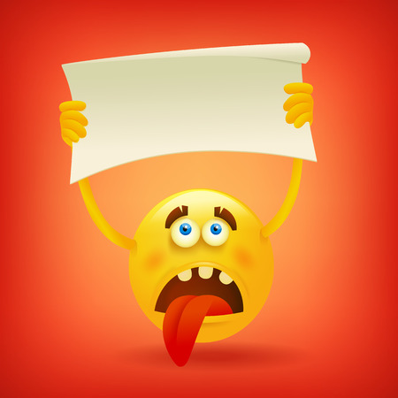 unsatisfied: Sad yellow smiley sphere face with banner in hands. Vector illustration Illustration