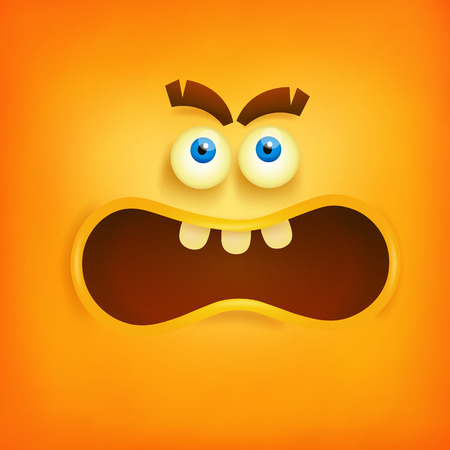stress ball: Yellow square angry smiley face. Vector illustration