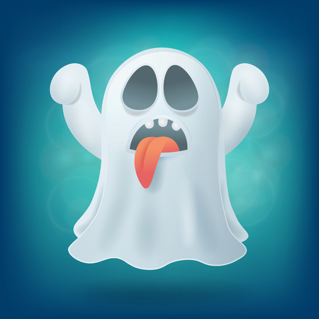 otherworldly: cartoon ghost with tongue on blue background. Halloween party design element vector illustration
